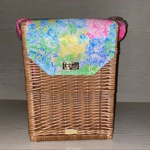 Lily Pulitzer Wicker Wine Picnic Basket Tote NWOT